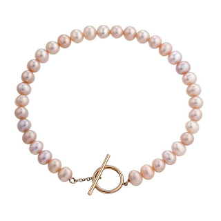 Rose gold and cultured freshwater pearl bracelet