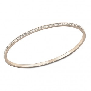 Rose gold bangle with crystals