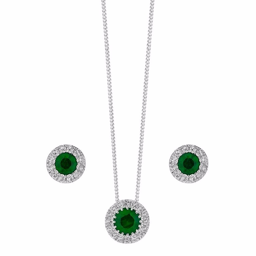 9ct white gold Emerald and Diamond earrings & pendant set