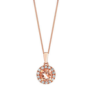 9ct rose gold simulated morganite & cubic zirconia pendant