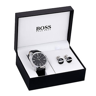 Hugo Boss Men's Cuff Links & Bracelet Watch Gift Set