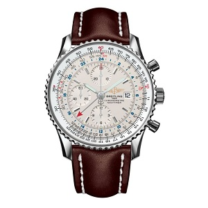 Breitling men's flight watch with white face and brown strap