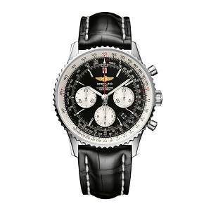 Breitling men's flight watch with black face and strap