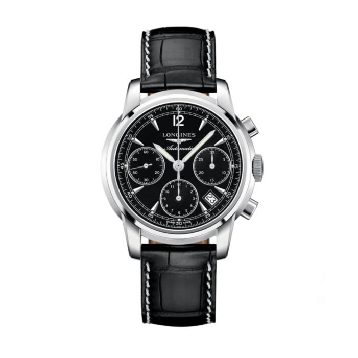 Longines men's black strap watch