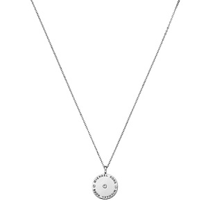 silver necklace with round pendant