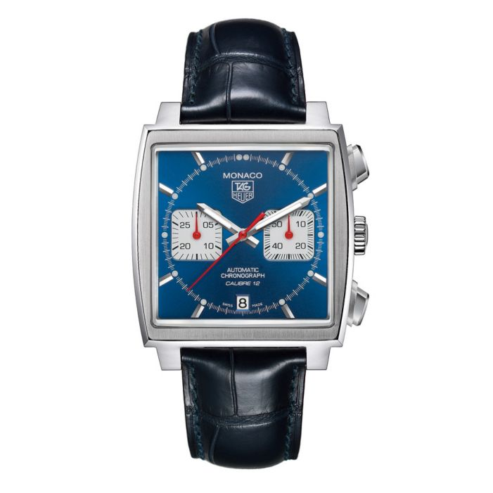 Tag Heuer men's watch with blue strap and square shaped face