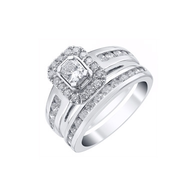 Platinum 1.5ct Radiant Cut Diamond Halo Bridal Set