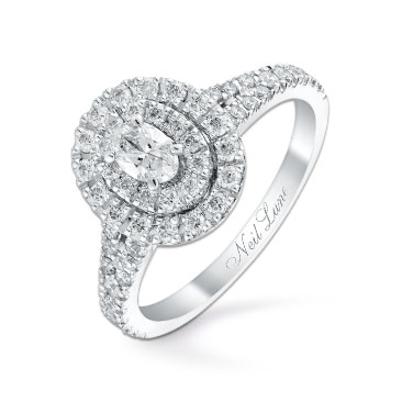 Neil Lane 14ct white gold 0.80ct oval diamond halo ring