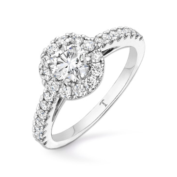 Tolkowsky 18ct White Gold 1ct I-I1 Diamond Halo Ring