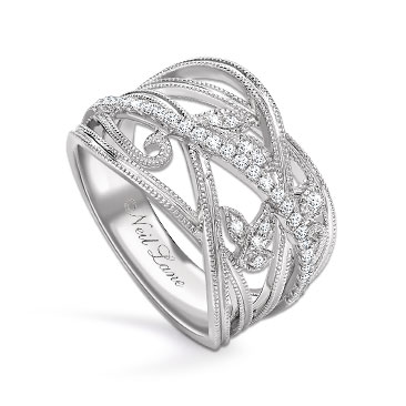 Neil Lane Designs Silver 1/5ct Diamond Leaf Band Ring