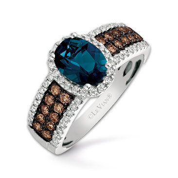 Le Vian 14ct Vanilla Gold Deep Sea Blue Topaz Diamond Ring
