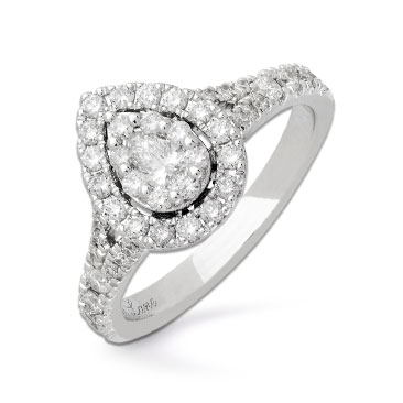 Neil Lane 14ct White Gold 0.81ct Diamond Pear Diamond Ring