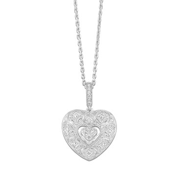 Neil Lane Designs Silver 0.11ct Diamond Heart Pendant
