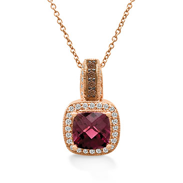 Le Vian 14ct Strawberry Gold 20pt diamond rhodolite pendant