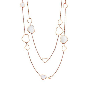 Chopard Happy Hearts 18ct Rose Gold 0.15ct Diamond Necklace