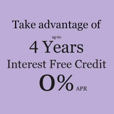 Up to 4 years Interest Free Credit 0% APR