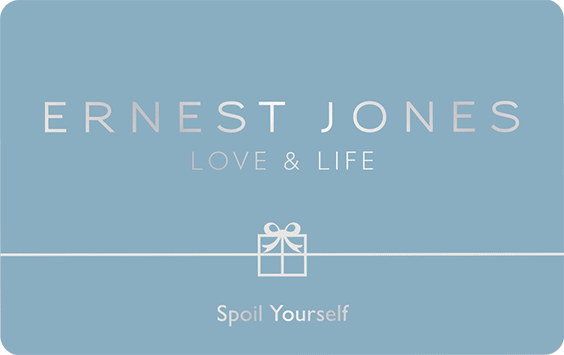 The Ernest Jones Gift Card, a minialistic silver design with the company motto, 'Love and Life', emphasised in the top left corner. Below the Ernest Jones title. In the bottom right 'Gift Card' is displayed in a clean and spaced out sans-serif typeface.